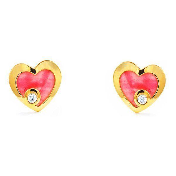 Pendientes De Oro De Corazón Con Nácar Rosa y Circón