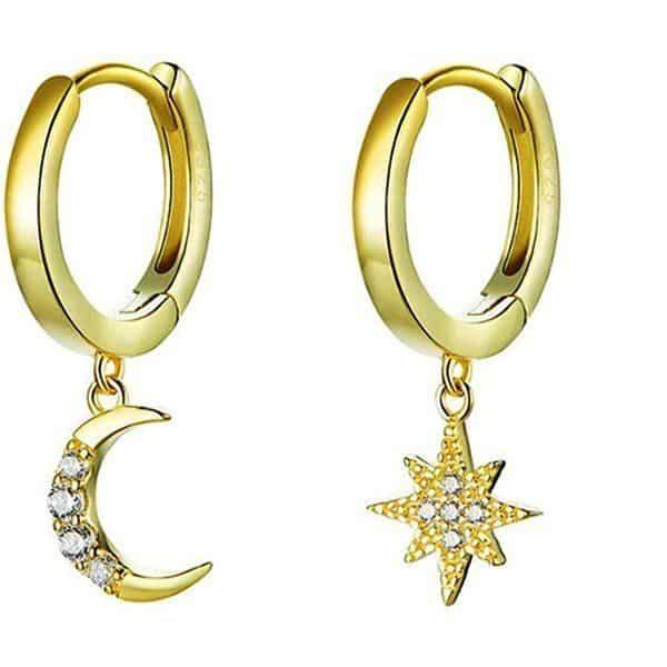 Pendientes Con Diseño De Estrella De Luna Dorada