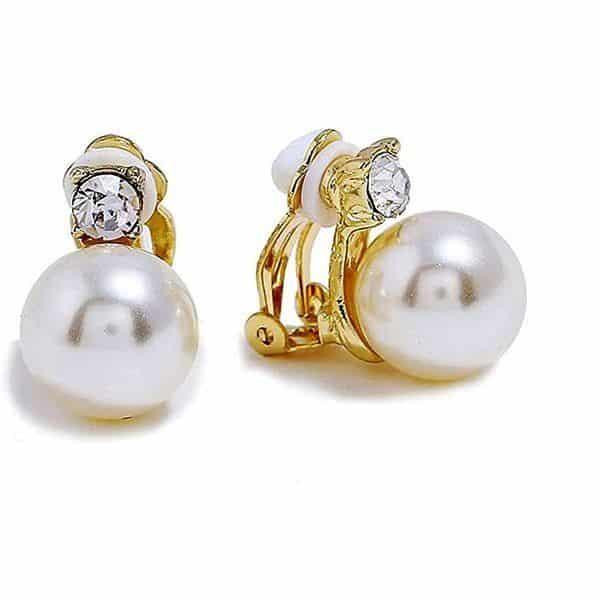 Pendientes De Clip Con Perlas De Cristal