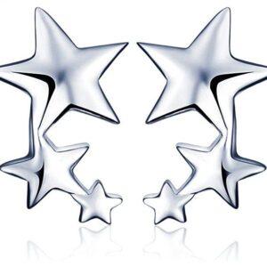 Pendientes De Plata Con Diseño De Estrellas