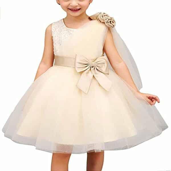 Vestido Sin Mangas de Bautizo Para Niñas